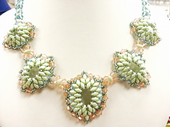 Renaissance Beadwork SuperDuo Necklace Jewellery Making Kit with SWAROVSKI® ELEMENTS Pale Green & Silk